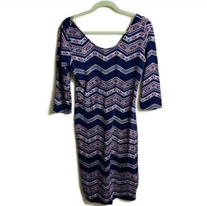 Xhilaration Chevron Sheath Body Midi Blue Dress